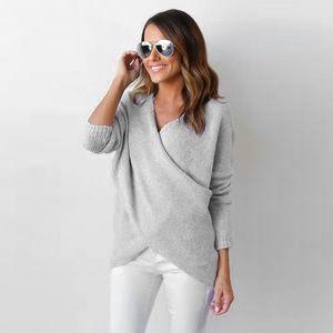 Cross Wrap Front Chunky Knit V Neck Sweater Grey